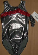 Nwt Destira Gymnastic Foil Gunmetal w/ Red Foil Detail Leotard Large Child 5207