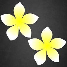 2 Plumeria Decal Flower Sticker Hawaiian Car Surf Island Beach Tropical Yel/Wht
