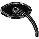 Arlen Ness Forged Billet Mirrors with Short Stem Black Beveled - Right 13-132