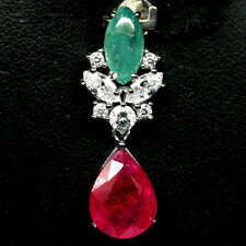 NATURAL PINK RUBY, GREEN EMERALD & WHITE CZ PENDANT 925 STERLING SILVER