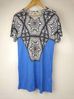 JONATHAN SAUNDERS Top/blouse Sz M, 10, 12 Black white w/blue print