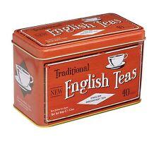 NEW ENGLISH TEAS ENGLISH BREAKFAST TEA 40 TEA BAGS in VINTAGE GIFT TIN - RED