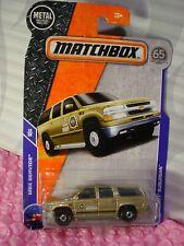 2018 MATCHBOX #38 '00 CHEVY SUBURBAN Gold;Boone Sheriff; hitch SERVICE 65TH