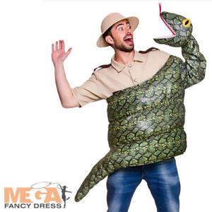 Green Snake Costume Adults Fancy Dress Anaconda Reptile Mens Ladies Costume