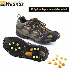Weanas Ice Snow Cleats Stretch Spike Traction Slip-on Crampons Studded Cover - L