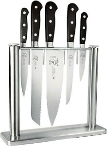 MERCER CULINARY STAINLESS STEEL AND GLASS KNIFE BLOCK WITHOUT KNIVES