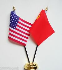 United States of America & USSR Soviet Union Russia Friendship Table Flag Set