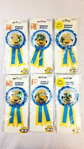 Lot Of 6 Minions Despicable Me - Award Party Ribbon Medallion Badge New Sealed