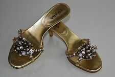 NEW Prada Jeweled 3 D CRYSTALS Slides Sandals Gold Kitten Heels 37.5