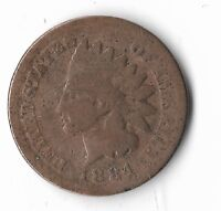 Rare Very Old Antique US 1884 Indian Head Penny USA Collection Coin Cent LOT:W13