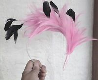 Pink feather headband fascinator millinery wedding ascot bridal hat hair piece