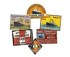 Steamship Luggage Label Stickers Set, Steam Trunk Baggage Tags, 6 REPRODUCTIONS