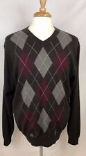 Davis & Squire 100% Wool Men's Sweater Brown with Diamond Pattern Size XL