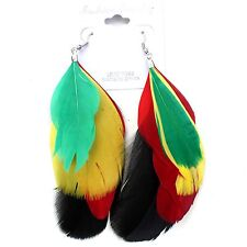 Feathered Rasta Rastafari Empress Earrings One Love Marley Jamaica Reggae NEW