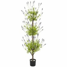 Decorative Natural Looking Artificial Potted 4' Lavender Topiary Silk Tree Plant