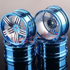 4x Wheel Rim For 1/10 RC Drift Racing HSP RedCat Himoto HPI Blue 614 Aluminum