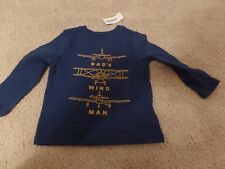 Boy's, Old Navy, Shirt, Blue, Dad's Airplane Wing Man, Size: 2T, New w/Tags