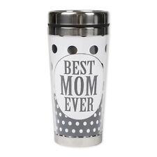 Best Mom Ever Black White Polka Dot 16 Ounce Stainless Steel Travel Tumbler Mug