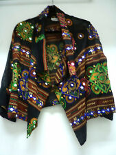 Sterling Styles Blk Artsilk Swirl 3/4 sleeve Embellished Cropped Jacket sz OS