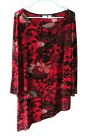 Chico's Travelers Size 2 (L) Red and Black Floral Asymmetric Hem Stretch Top