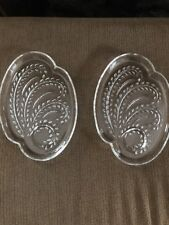 2 Very Pretty Oval Cut Glass Platter Wheat Design With  Dip  Section.  Perfect