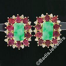 Vintage 18k Gold 8.60ct Rectangular Jade w/ Pear Ruby Diamond Statement Earrings
