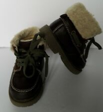 Carters Toddler Boys Leather Winter Ankle Work Boots Size 5 Dark Brown Faux Fur