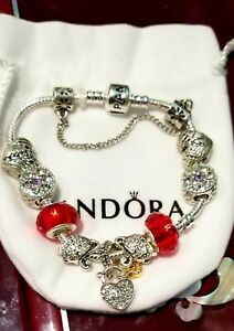 Authentic Pandora Charm Bracelet Silver 925 charms included as picture.7.5 in