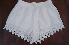 uk2la white shorts lace trim feminine light