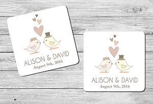 Pair of Personalised Mr & Mrs Love Bird Wedding Date & Name Drink Coasters Gift