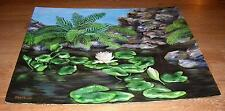 VINTAGE BOTANICAL FLOWERS LILY PADS PINK LOTUS WATER GARDEN FERNS ROCKS PAINTING