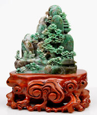 Natural Dushan Jade Chinese Scenery Statue / Traditional Oriental Carving