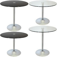 LARGE CIRCULAR GLASS TOP BISTRO/DINING TABLE BAR/CAFE STYLE TALL/ROUND BREAKFAST
