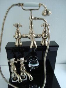 York Style Traditional Gold Bath Shower Mixer & Pair basin pillar taps Bathroom