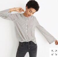 NWT!!!!  Madewell Striped Flare Sleeve Shirt Brighton Stripe White Wash Size XS