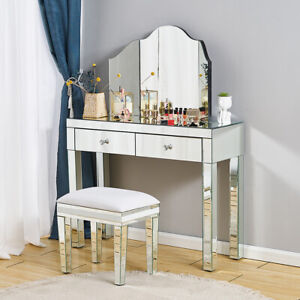 Mirrored Dressing Table Vanity Glass Dresser Console Bedroom Stool Mirror Makeup