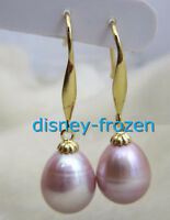 baroque 9X11mm AAA PERFECT natural south sea purple pearl earrings 14K GOLD