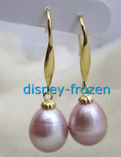 Genuine 9X11mm AAA PERFECT natural south sea purple pearl earrings 14K GOLD