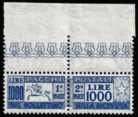 1954 Italia Repubblica L.1000 cavallino N° 81 ** integro B di foglio