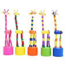 Wooden Giraffe Push Puppets,Swing Body Giraffe DesktopToys Cartoon Fingers Toys