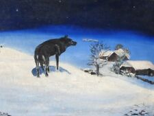 ORIGINAL VINTAGE 1930's ART DECO ILLUSTRATION PAINTING WOLF ON SNOWY HILL WINTER