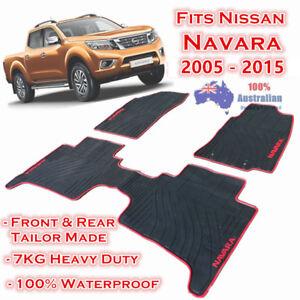 Waterproof Rubber Floor Mats Tailor Made Nissan Navara 2005 - 2015 Dual Cab D40
