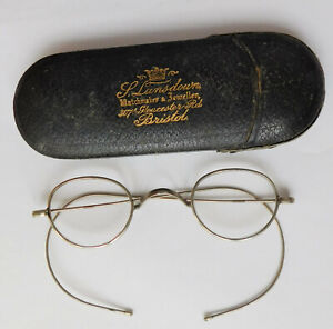 Vintage antique spectacles metal wire framed eye glasses Lansdown Jewellers case