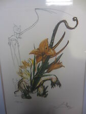 salvador dali elephant lily numberd and signed pencil litho