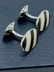 Ralph Lauren Striped Enamel Silver Plated Cufflinks, White/Black