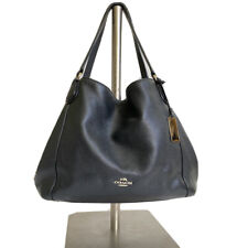 Coach Edie 31 Saddle Hobo Pebble Leather Bag #D1592 Black (one snap is missing)
