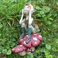 Pixie Thinking on Mushroom Garden Ornament Lawn Decoration Magical Figure