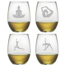 Yoga Stemless Wine Glasses Set/4 Hand Etched Different Designs on Each Glass