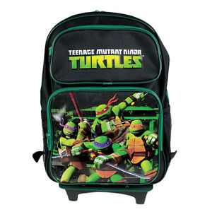 Brand New Teenage Mutant Ninja Turtles Green School Rolling Bag Backpack 16""