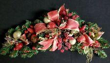Christmas Mantel Swag Holiday Garland Custom Decorated Apples Gold Balls Ribbon